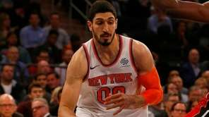 Enes Kanter of the Knicks drives against Bam