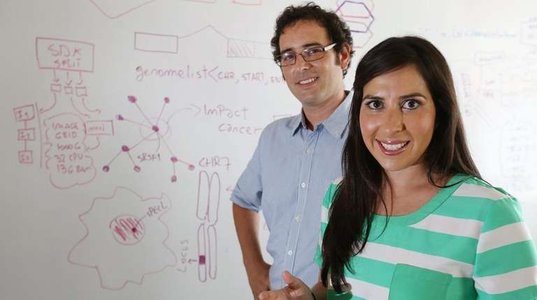 Maria Luisa Pineda, right, CEO of Envisagenics, and