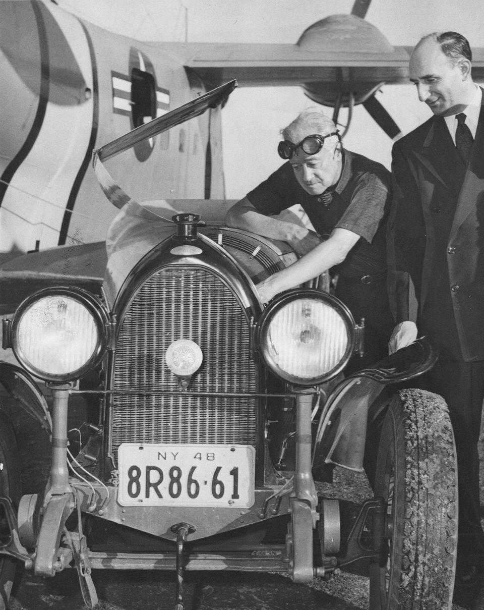 Auto racing pioneer Robert Breese of Freeport shows
