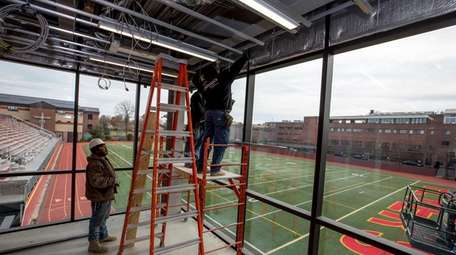 Construction crews work on Chaminade High School's Science,