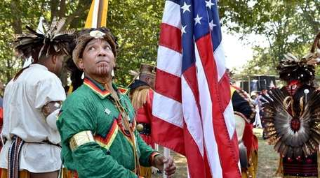 Keith Phillips, of the Shinnecock tribe, awaits the
