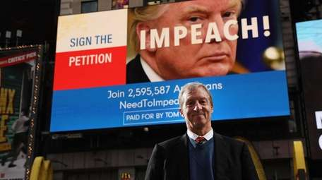 Philanthropist Tom Steyer stands earlier this month in