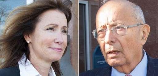 Katuria D'Amato and former Senator Alfonse D'Amato leave