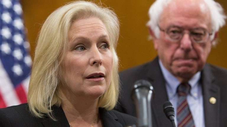 Senator Kirsten Gillibrand (D-NY) attends a news conference.
