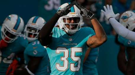Dolphins free safety Walt Aikens celebrates a safety
