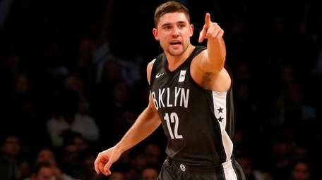 Joe Harris of the Nets reacts after a