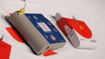 Automated external defibrillators are on display at the