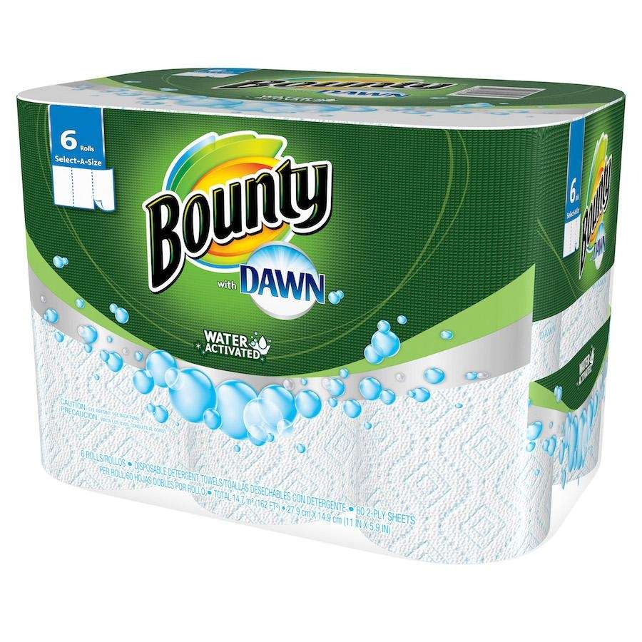 Bounty, with the grease-fighting power of Dawn, cleans