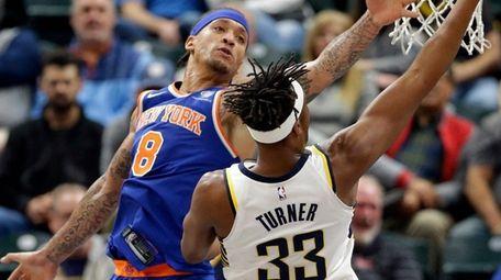 Pacers center Myles Turner shoots around Knicks forward