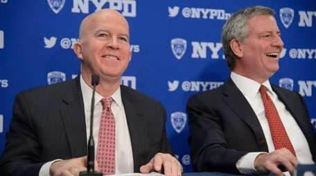 NYPD Commissioner James O'Neill, left, and New York