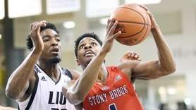 Stony Brook's UC Iroegbu goes against LIU Brooklyn's