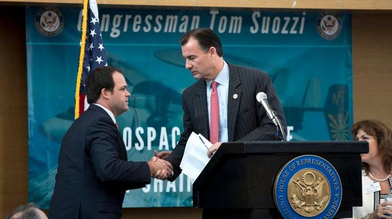 Rep. Thomas Suozzi (D-Glen Cove) welcomes Eric Chewning,