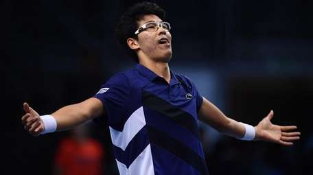 Hyeon Chung celebrates after his victory in the