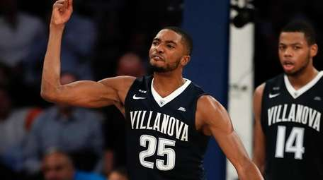 Villanova guard Mikal Bridges reacts after blocking a