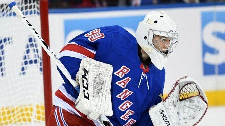 Rangers' Alexandar Georgiev makes a save during a