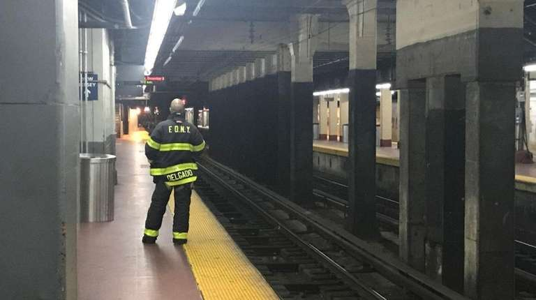 A fire started on Track 14 at Penn