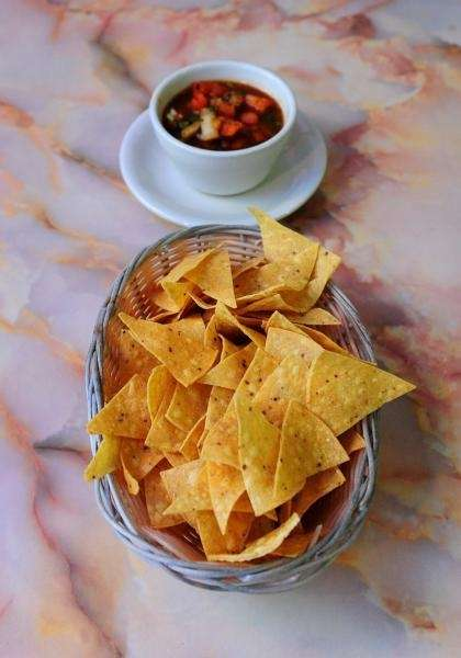 Chips and salsa are served at El Ranchito