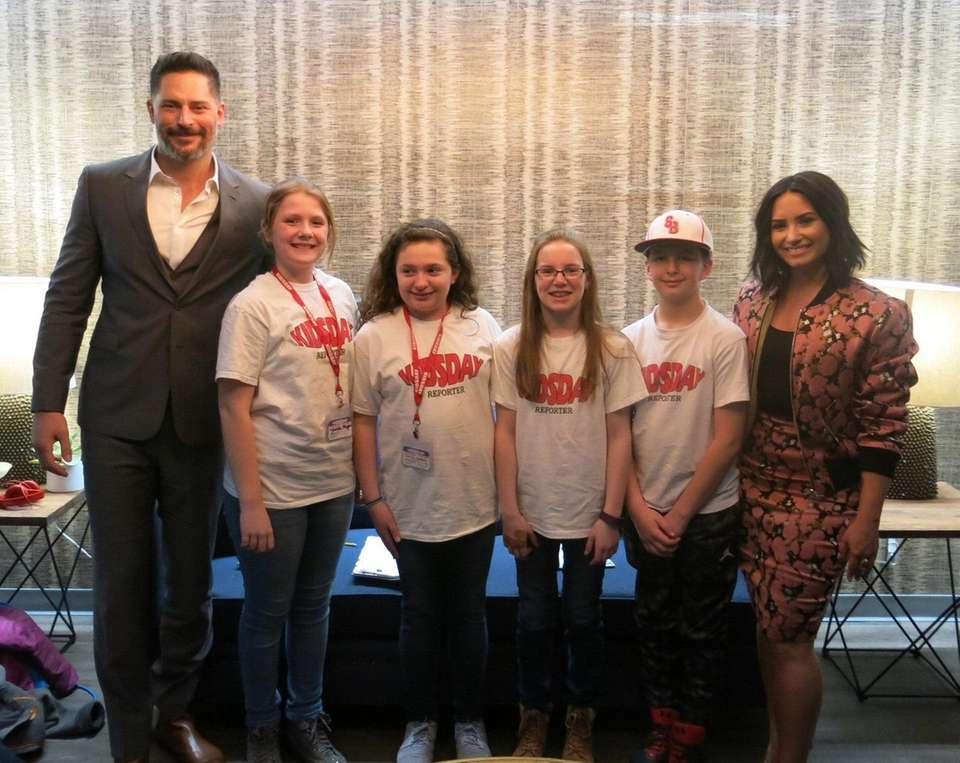 Actors Joe Manganiello and Demi Lovato met Kidsday