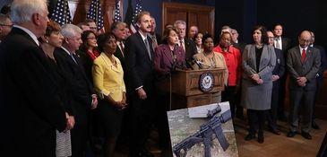 Sen. Dianne Feinstein of California, flanked by members