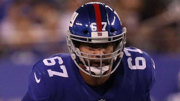 Giants guard Justin Pugh lines up during the