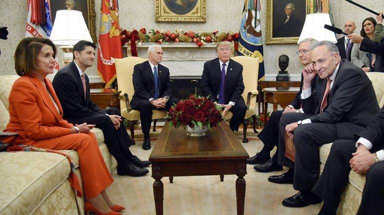 From left, Nancy Pelosi, Paul Ryan, Mike Pence,