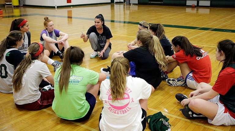 Ward Melville girls basketball coach Samantha Prahalis tells