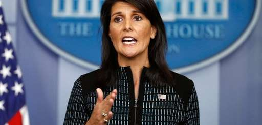 U.S. Ambassador to the UN Nikki Haley, seen