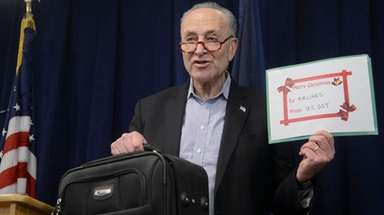 Sen. Chuck Schumer holds a news conference Sunday,