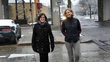 Nassau County Executive-elect Laura Curran, right, and her
