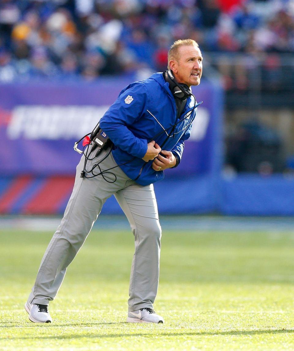 Giants interim head coach Steve Spagnuolo looks on