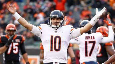 Mitchell Trubisky of the Bears celebrates after a
