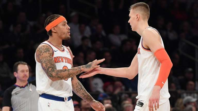 Knicks forward Michael Beasley, left, and forward Kristaps