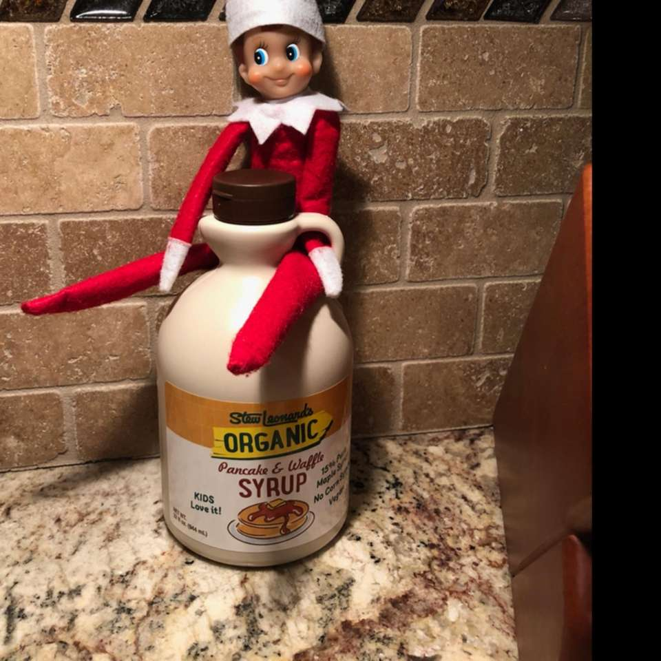 Frankie the Elf loves syrup!