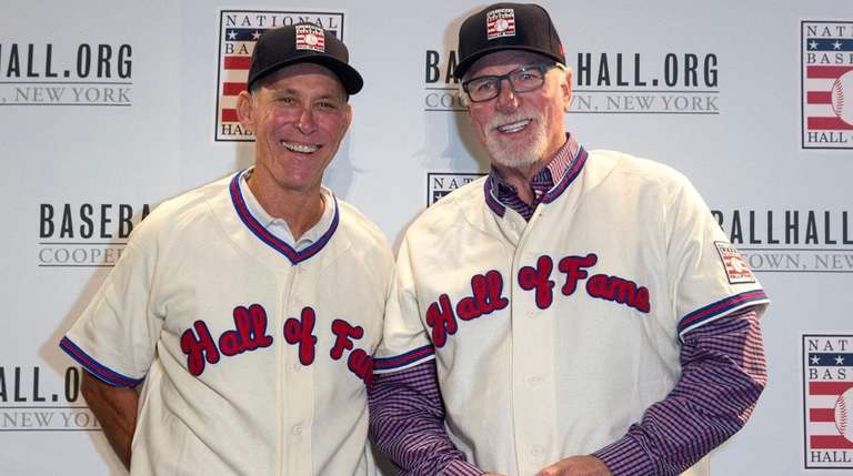 Newly elected Hall of Famers Alan Trammell, left,