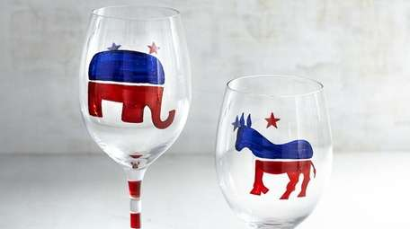 An elephant and donkey wine glasses.