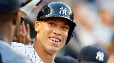 Aaron Judge of the Yankees celebrates his three-run