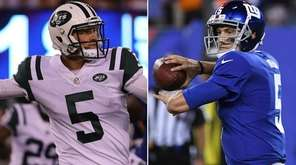 Don't expect Jets quarterback Christian Hackenberg, left, or