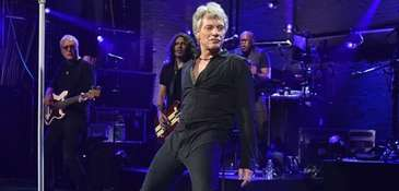 Jon Bon Jovi performing at the Barrymore Theatre