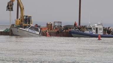 A Smithtown bay constable boat overturned on the