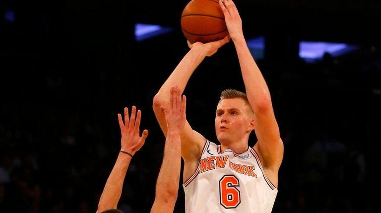 Knicks forward Kristaps Porzingis takes a shot against