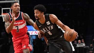 Brooklyn Nets guard Spencer Dinwiddie drives the ball