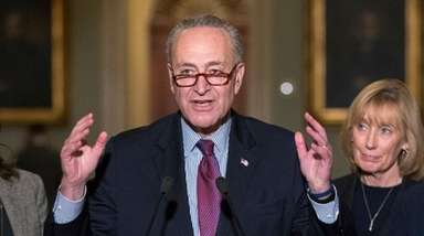 Senate Minority Leader Chuck Schumer, D-N.Y., speaks to