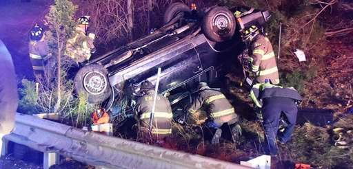 Emergency personnel respond to a crash on Sunrise
