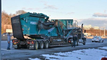 A tractor trailer struck an overpass on the