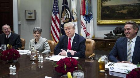 President Trump with Republican Senators Jeff Flake of