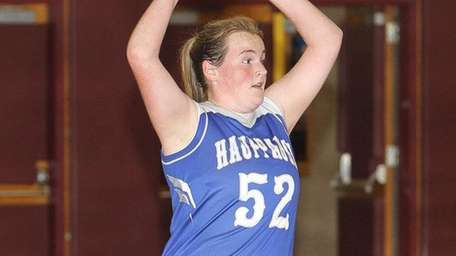Hauppauge's Lindsey Devine looks to pass in the