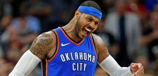Carmelo Anthony of the Oklahoma City Thunder against