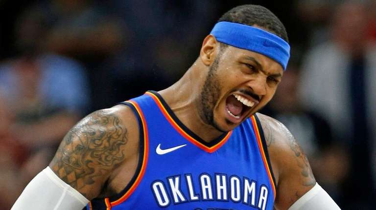 Carmelo Anthony of the Oklahoma City Thunder against