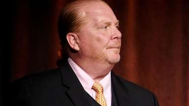 Mario Batali speaking at the Food Bank for