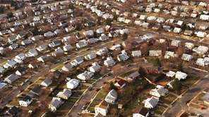 An aerial view of Levittown, looking northwest from